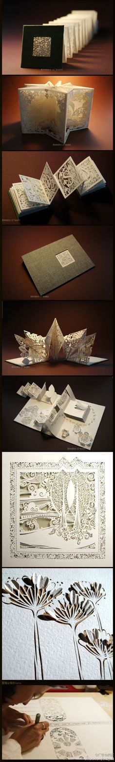 paper carving in accordion book