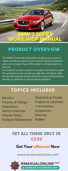 BMW 3 Series Workshop Manual. This BMW 3 Series Workshop Manual allows you to search repair procedures, servicing information, technical bulletins and more via input of your VIN number, or simply search by your car.