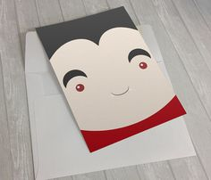 Cute Face of Dracula Halloween Card  #HalloweenCard #HappyHalloween #Dracula #Kawaii #CuteHalloweenCard #FunnyHalloweenCard #Etsy #JollyBunnyDesigns