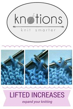 Knit and purl sides, left- and right-leaning increases. Knitting Increase, Knitting Help, Loom Knitting, Knitting Stitches, Knitting Designs, Crochet Stitches Patterns, Stitch Patterns, Knitting Patterns, Quick Knitting Projects