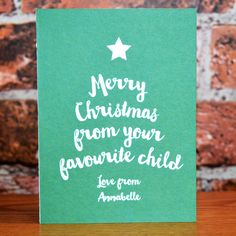 Personalised Christmas Card From Favourite Child Personalised Christmas Cards, Personalized Gifts, Children, Unique, Boys, Personalized Christmas Cards, Personalised Gifts, Kids, Big Kids