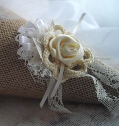 As seen at the Martha Stewart Wedding Party 2015 - Burlap White And Cream Large Wedding Cone Tussie Mussie - by handcraftusa