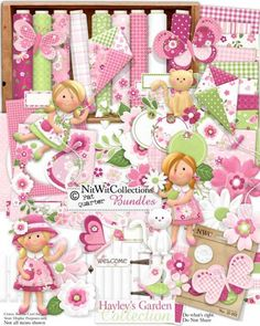 A digital scrapbooking kit for the girls in your life!  Pretty pinks and greens make foe a very versatile girl's digital kit!  FQB - Hayley's Garden Collection from Nitwit Collections™ #digitalscrapbooking #digitalscrapbookkit