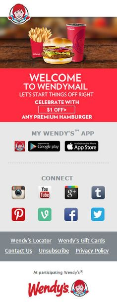 Responsive welcome email from Wendy's