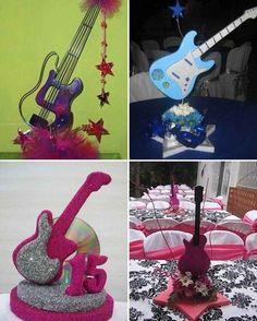 centro de mesa con guitarras (3)-tile                                                                                                                                                      Más Hippie Birthday, Rockstar Birthday, Karaoke Party, Music Party, 15th Birthday, Birthday Parties, Guitar Party, Rock Star Party, 50th Party