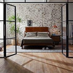"Midcentury Modern Rivet Mid-Century Leather Headboard Queen Platform Bed, 65""W, Mahogany"