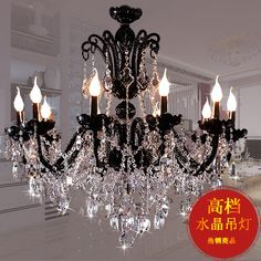 Modern Lamps fashion brief modern glass chandelier bedroom lighting black k9 crystal glass chandelier candle lamp chandeliers(China (Mainlan...