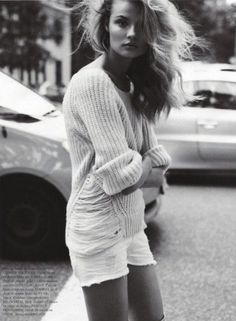 Easy Does It - Boyfriend sweater with cut off shorts for fall... Just add boots*