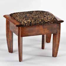 Made from solid tiger maple hardwood, this vanity stool is upholstered with a tapestry fabric and fire retardant urethane foam supported by webbing and finished with hand rubbed, multi layer lacquer. Tapestry Fabric, Vanity Stool, Hardwood, Fire, Furniture, Design, Home Decor, Natural Wood, Decoration Home
