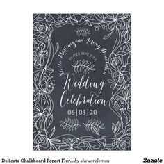 Delicate Chalkboard Forest Floral Invitation
