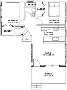 16x30 House -- #16X30H3E -- 705 sq ft - Excellent Floor Plans