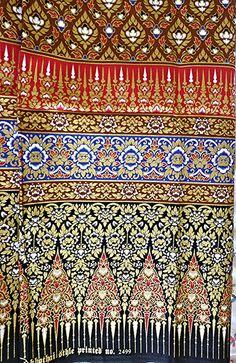 woman's Thai sarong Traditional pattern brown and by Bangkoksarong