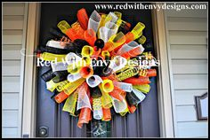 Halloween Spiral Wreath, Candy Corn, Candy Corn Wreath,Halloween Wreath, Spiral Wreath, Wreath, Halloween, Door Wreath on Etsy, $65.00