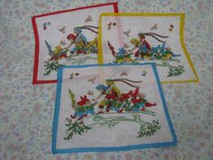 Vintage Handkerchief - Ladies Handkerchief - French Handkerchief - French Vintage - Girls Handkerchief - Gnome Handkerchief - Garden Gnome -   - 1