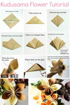 27 Inspiration Picture of Origami Kusudama Flower How To Make . Origami Kusudama Flower How To Make Kusudama Flower Tutorial Muslin And Merlot Origami Flowers Tutorial, Paper Flowers Diy, Paper Roses, Flower Crafts, Fabric Flowers, Origami Instructions, Paper Flower Ball, Money Flowers, Ribbon Flower