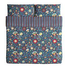IKEA - ROSENRIPS, Copripiumino e 2 federe, 240x220/50x80 cm, , Biancheria da letto fresca, grazie al percalle di cotone a tessitura fitta.Biancheria da letto morbida e resistente, grazie alla tessitura fine a trama fitta.I bottoni decorativi, rivestiti di tessuto, tengono fermi il piumino e il cuscino.Puoi rinnovare lo stile del tuo letto quando vuoi, poiché questo copripiumino ha motivi diversi sui due lati.