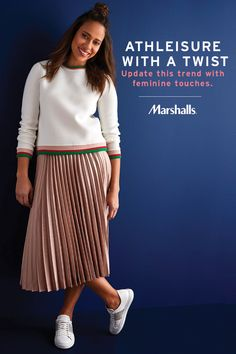 Spring is the perfect time to try new trends, like this feminine take on athleisure. Try pairing a sporty top with a silky skirt for an edgy and fresh contrast. Style tip: a pair of sleek sneaks will finish off this perfect weekend look — comfy, casual & extra cute! Visit Marshalls to save on your next spring outfit.