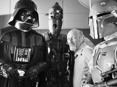 Star Wars: Episode V - The Empire Strikes Back, Irvin Kershner | The Empire Strikes Back director Irvin Kershner with Darth Vader, IG-88, and Boba Fett