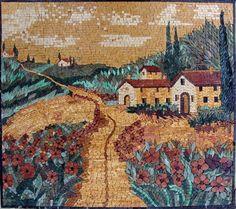 Italian Houses in Flower Field Mosaic