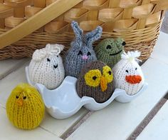 Transform a few scraps of worsted weight yarn and a little stuffing into cute celebrations of spring. Left to right (front row): chick, owlet, duckling; (back row): lamb, bunny, frog.