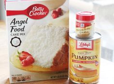 This pumpkin angel food cake recipe is great for the Weight Watchers' crowd and the lazy crowd. Angle Food Cake Recipes, Cake Mix Recipes, Ww Recipes, Fall Recipes, Crockpot Recipes, Pumpkin Angel Food Cake Recipe, Pumpkin Dessert, Pumpkin Recipes, Deserts