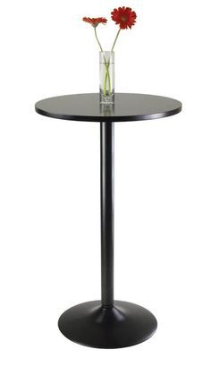 Round Pub Table 23.7-Inch Top Home Bistro Outdoor Indoor Bar Furniture NEW Black #1