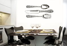 Vinyl Wall Decal Sticker Kitchen Stuff Fork Spoon Knife Cutlery Silverware r381