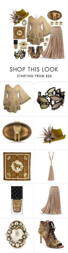 """""""Forever Vintage"""" by yournightnurse ❤ liked on Polyvore featuring Thalé Blanc, Philip Treacy, Hermès, NAKAMOL, Gucci, Nanette Lepore and vintage"""