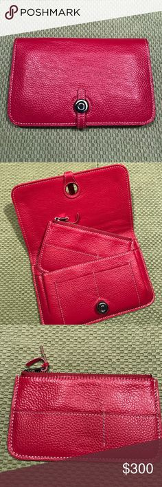 DESIGNER INSPIRED BRAND NEW. NEVER USED. Designer inspired pebbled leather dogon wallet. Has removable coin wallet. Main wallet will hold a passport PINK Bags Wallets