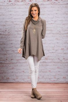 """""""Long Sleeve Cowl Neck Jagged Hem Top - Taupe"""""""