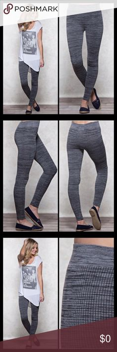"""COMING SOON These fashion leggings come in a soft marled ribbed fabric that fit with elastic stretch waistband. Imported.   Measured from a size Small 27.5"""" inseam 54% Cotton, 41% Nylon, 5% Spandex  Machine wash cold with like colors Gentle cycle Do not bleach Tumble dry low Cool iron  ✔️Reasonable offers considered  No trades please Pants Leggings"""
