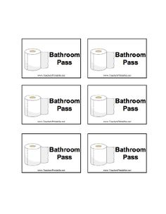 School Bathroom Passes Printable a form on which to record and track a student's behavior