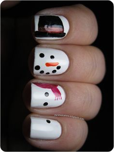 Christmas Inspired Snowman Nail Art