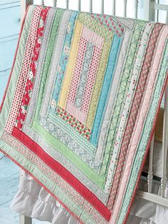 Jelly Roll Strips Make This Baby Quilt a Quick Finish - Quilting Digest Baby Box Quilt Pattern Quilt Baby, Colchas Quilt, Lap Quilts, Jellyroll Quilts, Strip Quilts, Patchwork Quilting, Scrappy Quilts, Small Quilts, Quilt Blocks