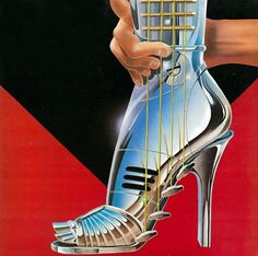 Some weird 80s fashioned pop art. It's a....chrome foot guitar? (Artist unknown, unfortunately)