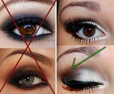 Maquiagem para quem tem olhos pequenos e fundos - certo e errado