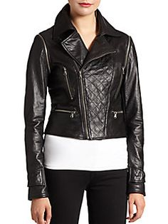 Bagatelle - Quilted Convertible Leather Jacket