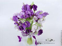 Купить Букет невесты, Свадебный букет Сиреневый - цветы из полимерной глины - свадебный букет