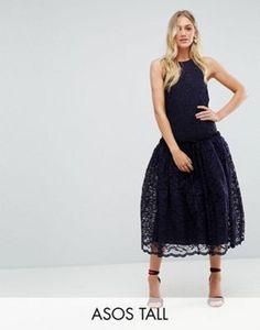 ASOS TALL Lace Smock Drop Waist Midi Dress