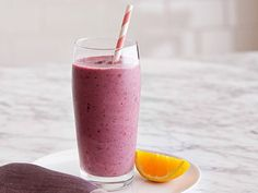 Mixed Berries and Banana Smoothie Recipe : Food Network Kitchen : Food Network Fruit Smoothies, Weight Loss Smoothie Recipes, Breakfast Smoothies, Healthy Smoothies, Healthy Drinks, Breakfast Recipes, Healthy Recipes, Healthy Meals, Fodmap Recipes