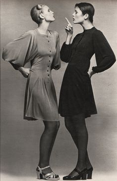 Left: dress - Jean Muir, shoes - Tilbury Right: dress - Jean Muir, shoes - Charles Jourdan  Marie Claire - March 1972 Photographed by Marc Hispard