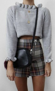 Winter plaid cropped sweater