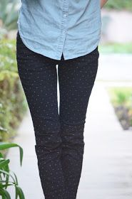 Chambray paired with polka dot pants...my spring fav