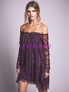 Off Shoulder Batwing Lace Dress Inspired Womens Boho Bohemia Lace Irregualr