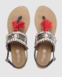 Sandalias planas de mujer Fórmual Joven  con abalorios multicolor