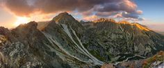 Mountain sunset panorama at autumn in Slovakia - High Tatras Winter Mountain, Mountain Sunset, High Tatras, Summer Couples, Mountain Images, Tatra Mountains, Winter Landscape, Trekking, Mount Everest