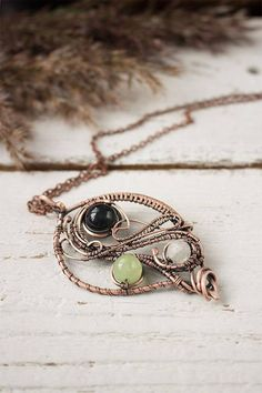 Wire wrapped pendant with beads Copper pendant Wire
