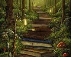 Kunst Zeichnungen - The Reader's Path - Awesome Art Pins Fantasy Kunst, Fantasy Art, Fantasy Forest, Wall Prints, Canvas Prints, Canvas Artwork, Wallpaper Aesthetic, Futuristic Architecture, Fantasy Landscape