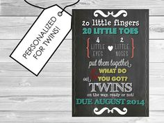 Announce your pregnancy to family and friends with this colorful, fun and festive TWINS Chalkboard announcement! This file is sized to 5 x 7 and can be