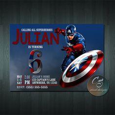 Invitación de cumpleaños de Capitán América por cspixeldesigns